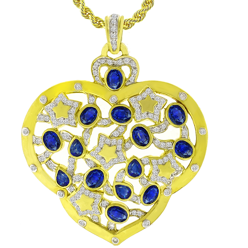 Estate 7.00ct Oval and Pear Shape Sapphire 2.00ct Round Cut Diamond 18k Yellow Gold Heart Pendant