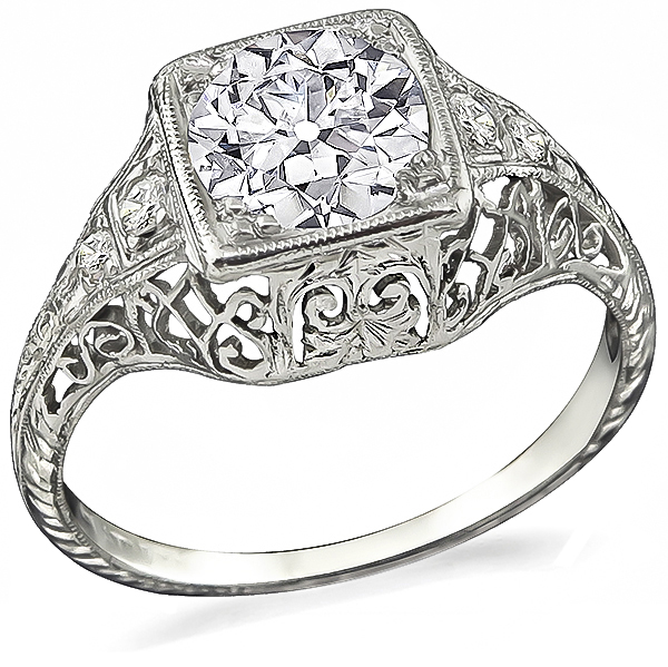 Vintage Old European Cut Diamond Platinum Engagement Ring