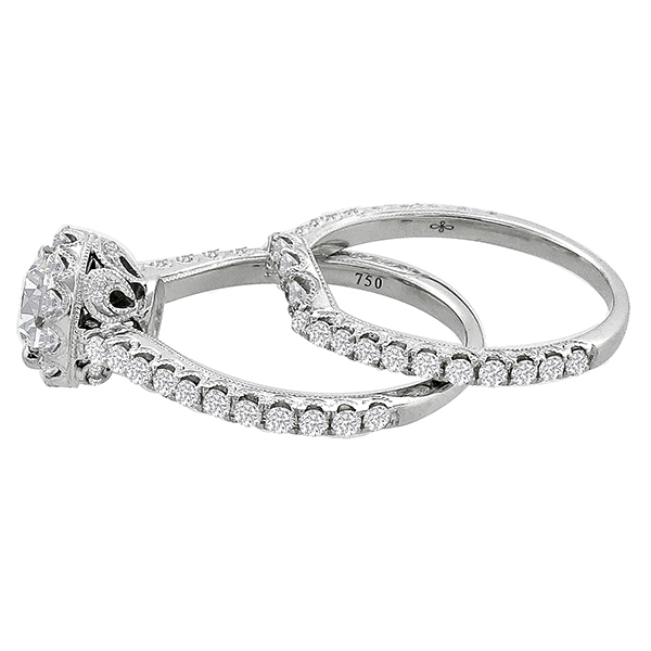 Edwardian Style 0.70ct Round Cut Diamond 18k White Gold Engagement Ring & Wedding Band Set