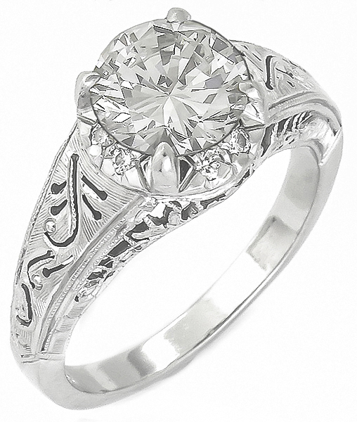 edwardian style 1.38ct diamond platinum engagement ring 3/4 view photo