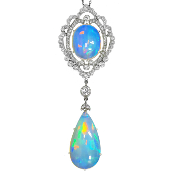 Edwardian Style 15.00ct Cabochon  Fire Blue Oval & Pear Shape Opal 1.00ct Round Diamond 14k White Gold Pendant