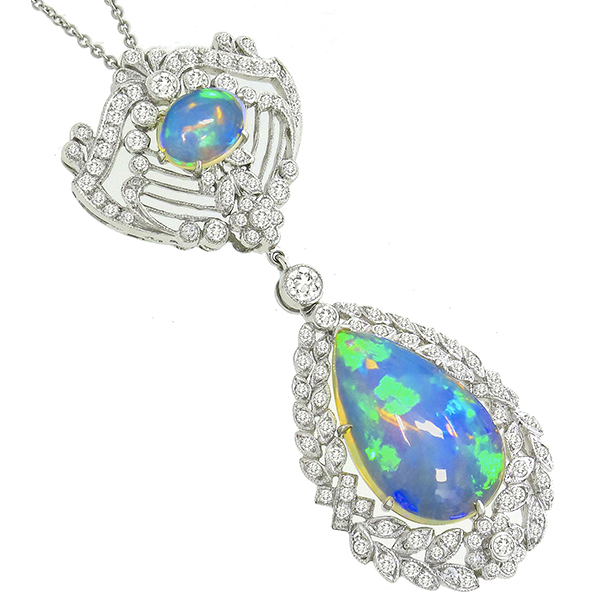 Edwardian Style 7.40ct Cabochon Fire Blue Oval & Pear Shape Opal 1.60ct Round Diamond 18k White Gold Pendant