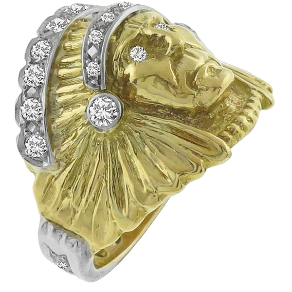 Estate 1.00ct Round Cut Diamond 14k Yellow & White  Gold Indian Head Ring