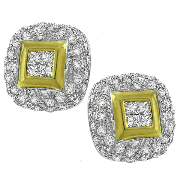 2.00ct Diamond Gold Shield Earrings 1