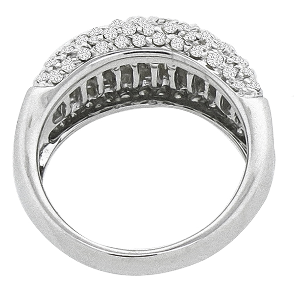 Estate 2.00cttw Round and Baguette Cut Diamond 14k White Gold Wedding Band