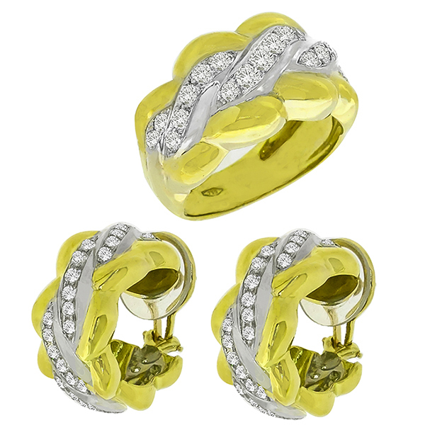 2.75ct Diamond Gold Ring and Earrings Set