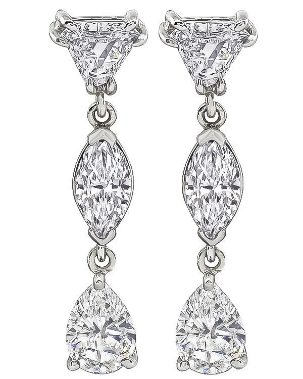 Pear Emerald and Trilliant Cut Diamond 18k White Gold Drop Earrings