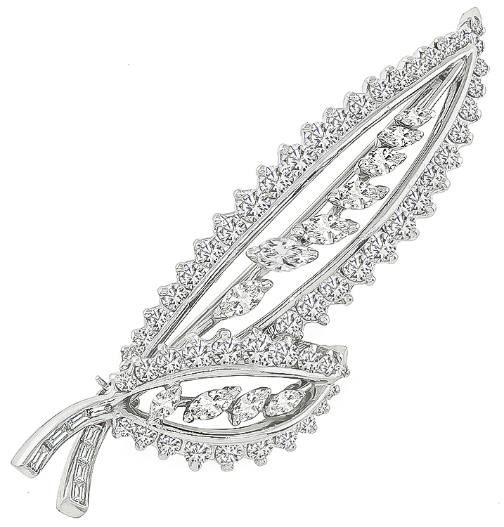 Round Marquise and Baguette Cut Diamond Platinum Leaf Pin