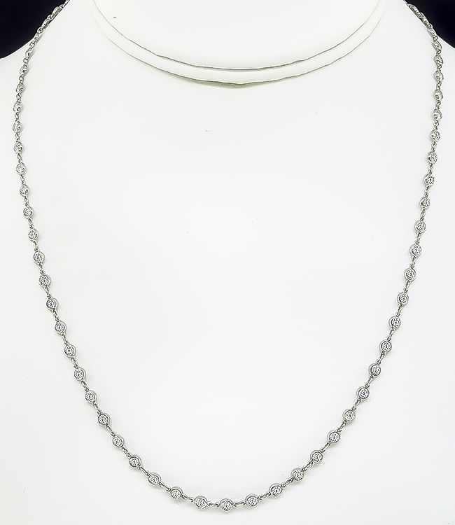 Estate 4.55ct Diamond By The Yard Necklace
