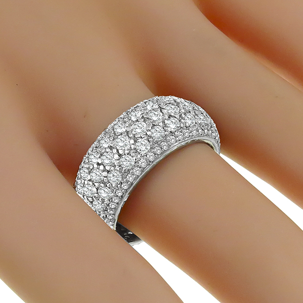 Estate 5.50ct Round Cut Diamond Eternity  18k White Gold Wedding Band