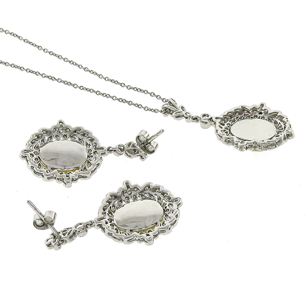 Estate Edwardian Style 7.00ct Cabochon Oval Opal 1.25ct Round Cut Diamond 18k White Gold Earrings & Pendant Set