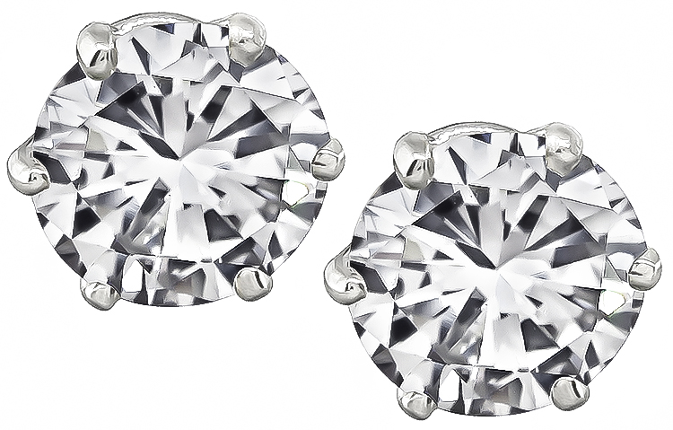 Estate GIA Certified 2.08cttw Diamond Stud Earrings