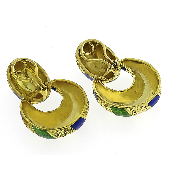 Estate Green & Blue Enamel  18k Yellow Gold Doorknocker Earrings