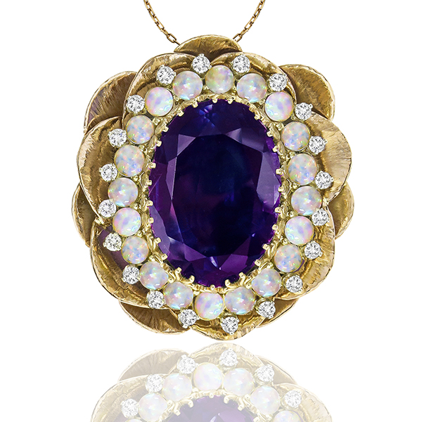 Estate Vintage 1960s 30.00ct Oval Cut Amethyst Cabochon Opal 1.00ct Round Cut Diamond 14k Yellow  & White Gold Lotus Pin/ Pendant