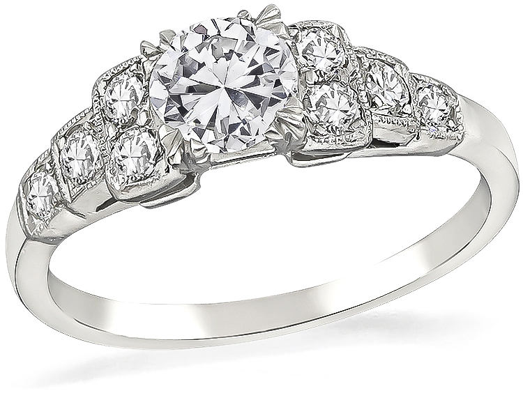 gia certified 0.52 round cut diamond vintage engagement ring 1