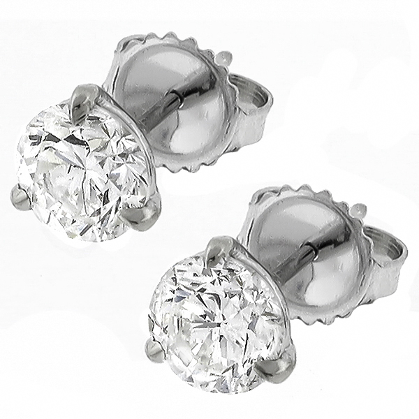 platinum martini push back diamond studs earrings 1