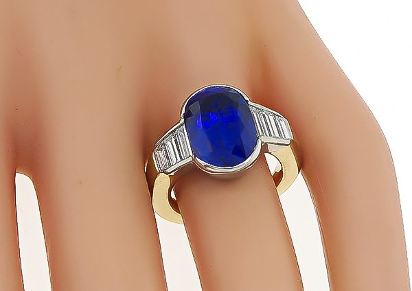 GIA Certified 7.71ct Not Heated Sapphire Engagement Ring