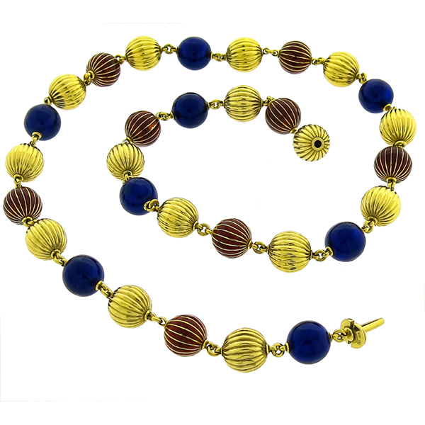 Gold Enamel Ball Bead Necklace