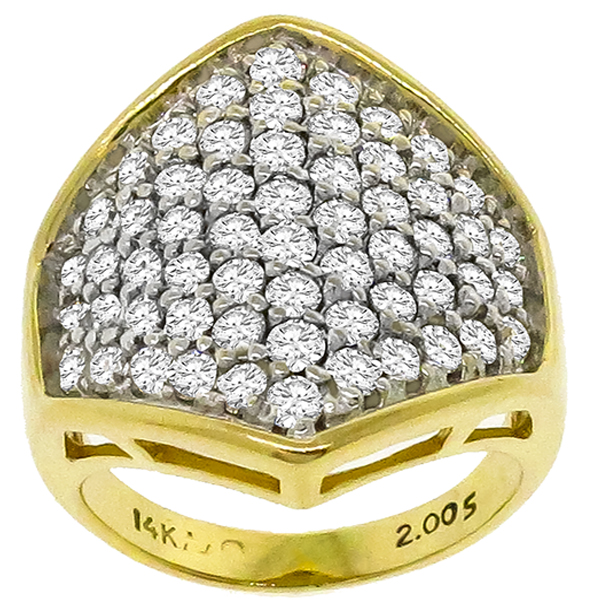 2.00ct Diamond Cluster Gold Ring