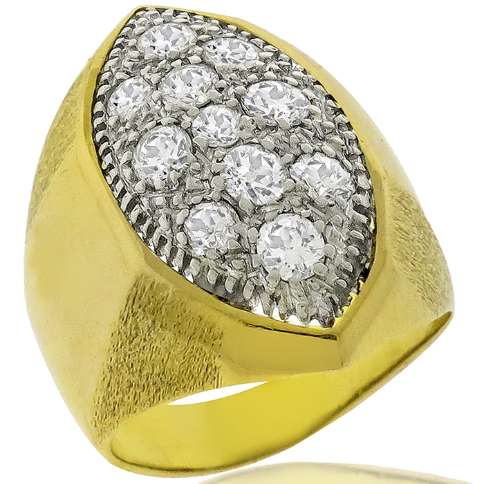Estate 1.98ct Round Cut Diamond 18k Yellow And White Gold Ring