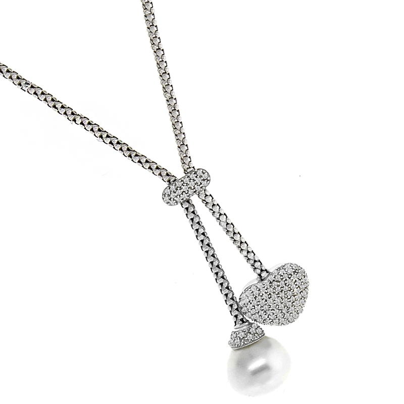 1.30ct Diamond Heart Pearl Necklace