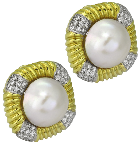 mabe pearl 1.90ct diamond earrings photo 1