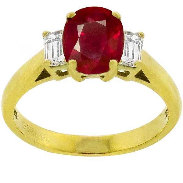 Estate 2.65ct Oval Cut Burmese Ruby 0.50ct Emerald  Cut Diamond 18k Yellow Gold Engagement Ring