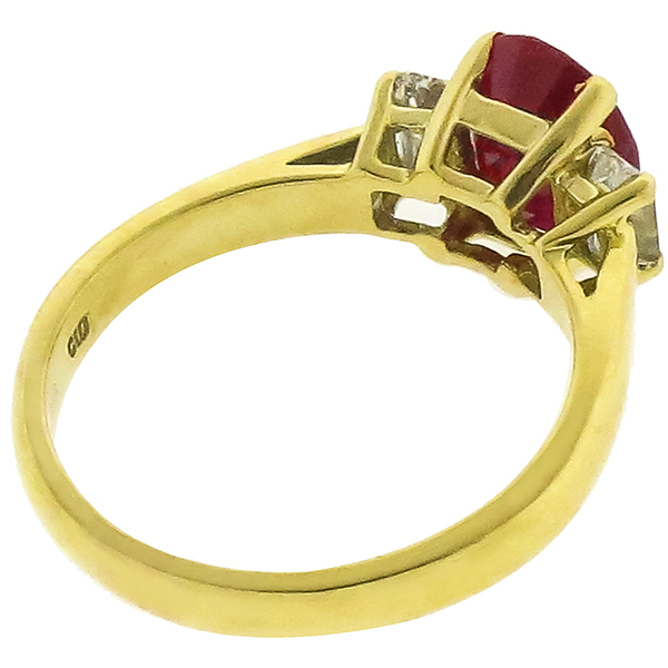 2.65ct Burmese Ruby 0.50ct Diamond Gold Ring