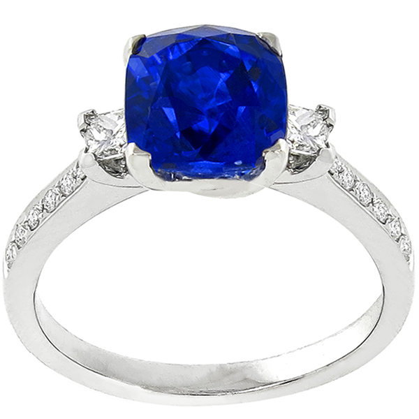 Estate 3.27ct Cushion Cut Ceylon Sapphire 0.40ct Princess And Round Cut Diamond 18k White Gold Engagement Ring