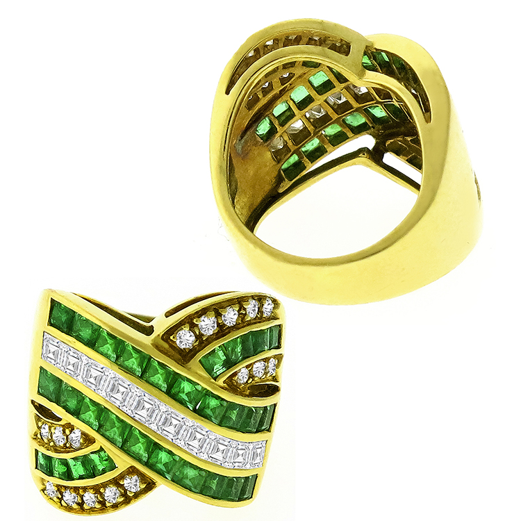1.85ct Colombian Emerald Diamond Gold Ring