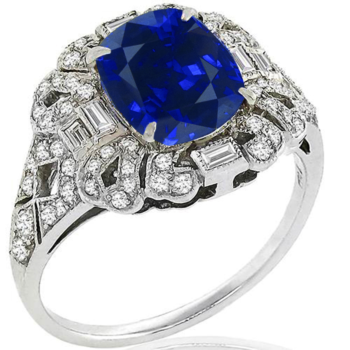Art Deco Style 2.55ct Cushion Cut Center Sapphire 0.52ct Round And Baguette Cut Diamond 18k White Gold Ring