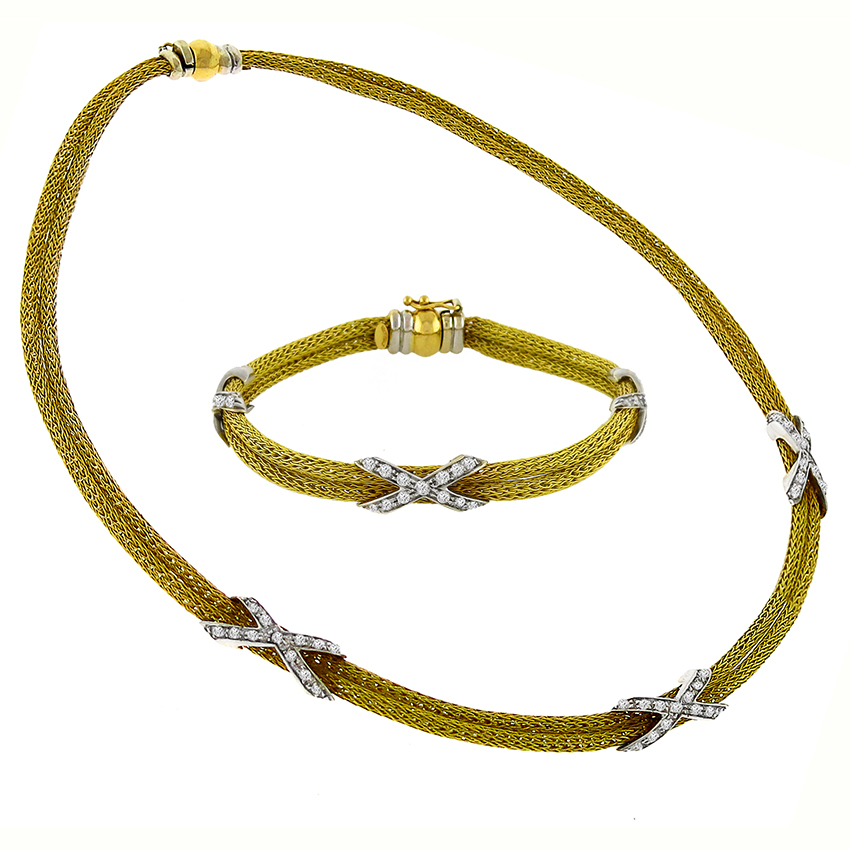 1.55ct Diamond Gold Mesh Necklace And Bracelet Set