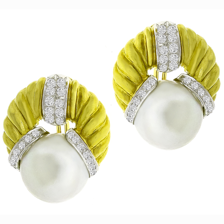 Estate 1.00ct Round Brilliant Diamond 16.5mm Mabe Pearl 18k Yellow Gold Earrings