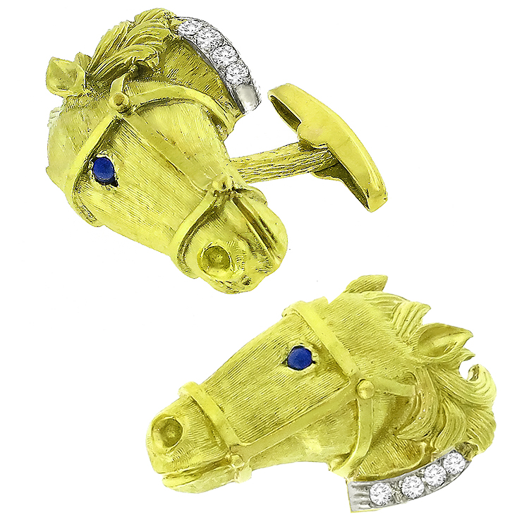 Diamond Cabochon Lapis 18k Yellow And White Gold Horse Head Cufflinks