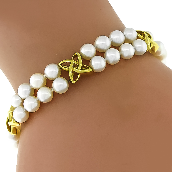 Estate Mikimoto Double Strand Pearl 18k Yellow Gold Infinity Bracelet