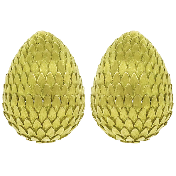 Vintage Spitzer & Furman 18K Yellow Textured Florentine Gold Finish Pine Cone Earrings