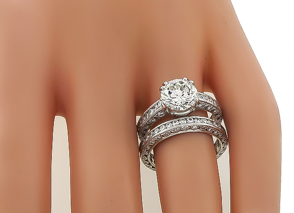 Tacori GIA Cert 2.03ct Engagement Ring and Wedding Band Set