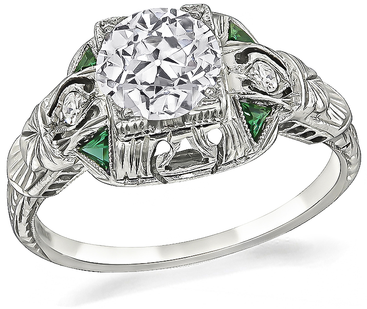 art deco diamond emerald engagement ring 1