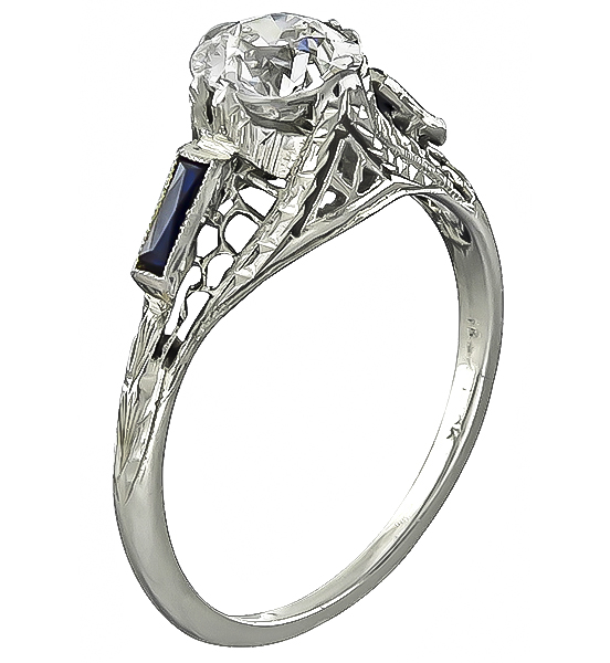 Vintage 0.87ct Diamond Sapphire Engagement Ring