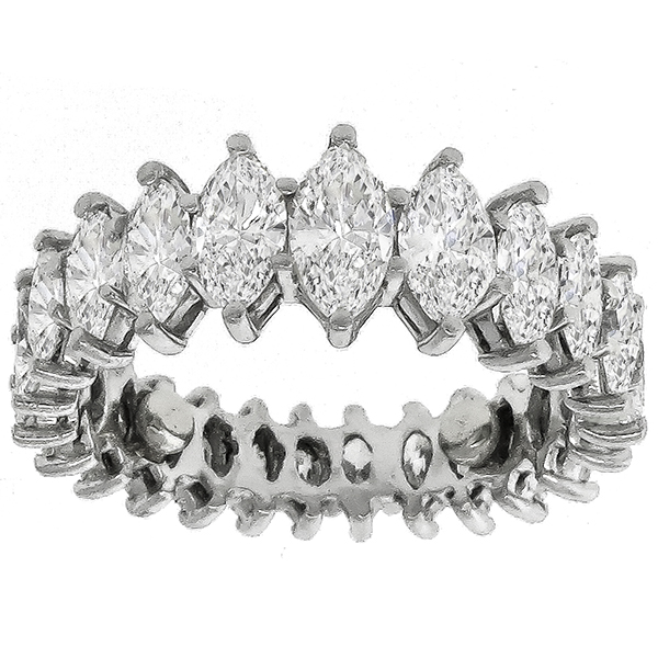 Vintage 1950s 3.50ct Tapering Marquise Cut Diamond Eternity Wedding Platinum Band