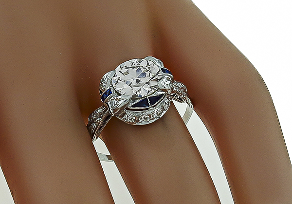 Vintage 2.12ct Diamond Sapphire Engagement Ring Photo 1