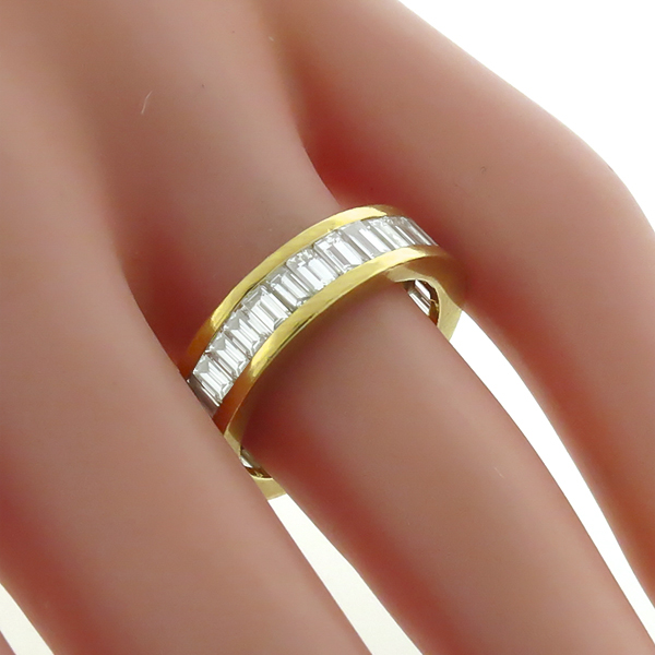 Vintage 2.25ct Straight Baguette Cut Diamond Eternity 18k Yellow Gold Wedding Band