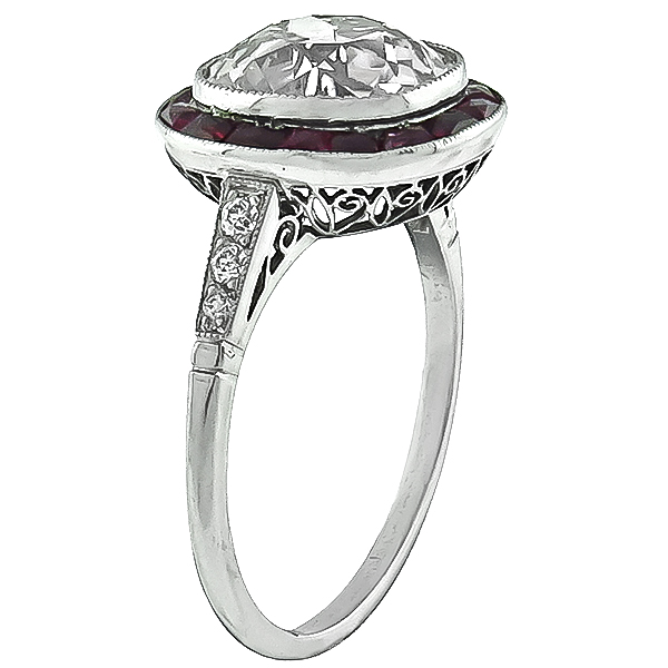 Vintage 3.56ct Diamond Ruby Engagement Ring Photo 1
