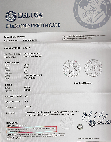 Vintage EGL Certified 2.40ct Diamond Engagement Ring Photo 1