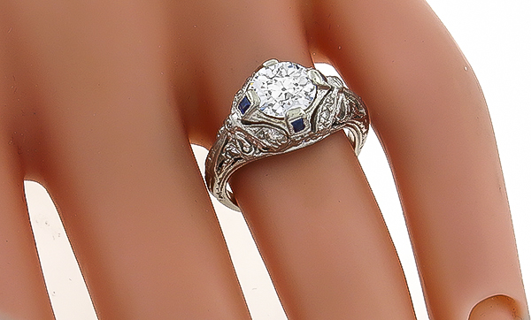 Vintage GIA Certified 1.05ct Diamond Engagement Ring Photo 1