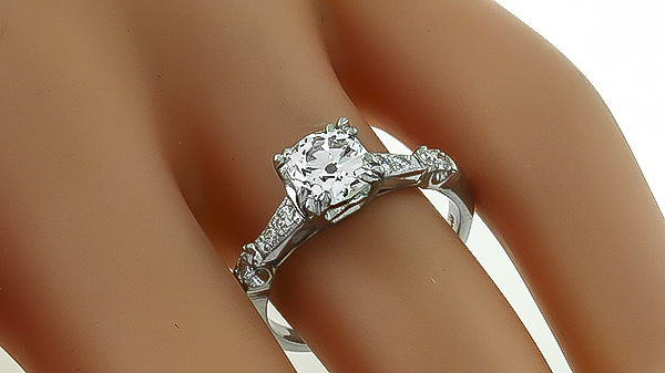 Vintage GIA Certified 1.13ct Diamond Engagement Ring Photo 1