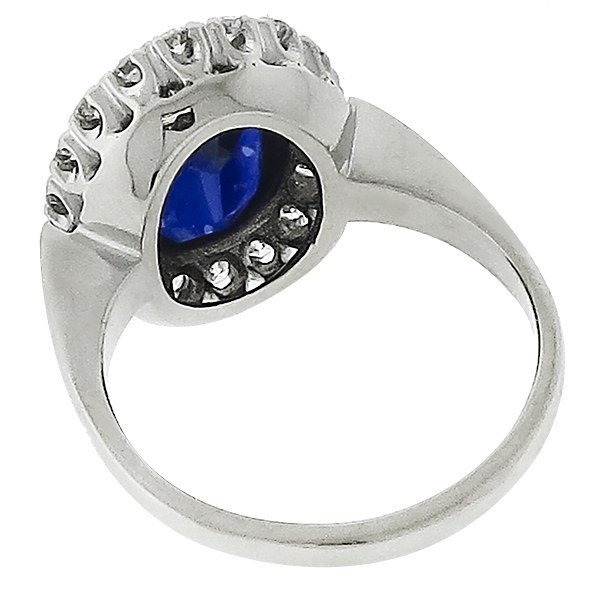 1930s 5.55ct Sapphire 0.72ct Diamond Gold Ring