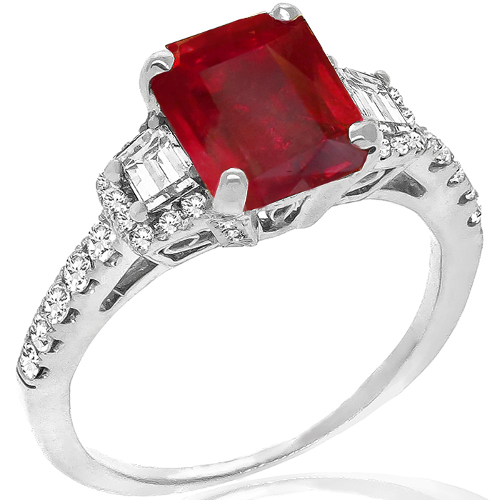 Estate 2.04ct Emerald Cut Burmese Ruby 0.75ct Trapezoid And Round Cut Diamond 18k White Gold  Engagement Ring