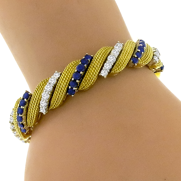 Estate 5.00ct Sapphire 4.00ct Diamond Gold Bracelet