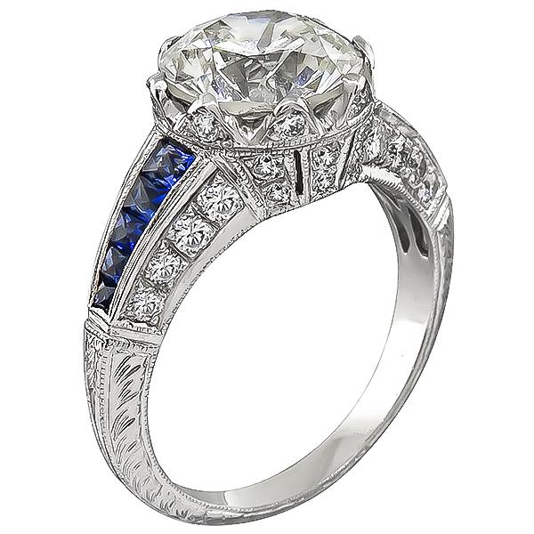 Vintage Round Brilliant Cut Diamond Sapphire 18k White Gold Engagement Ring